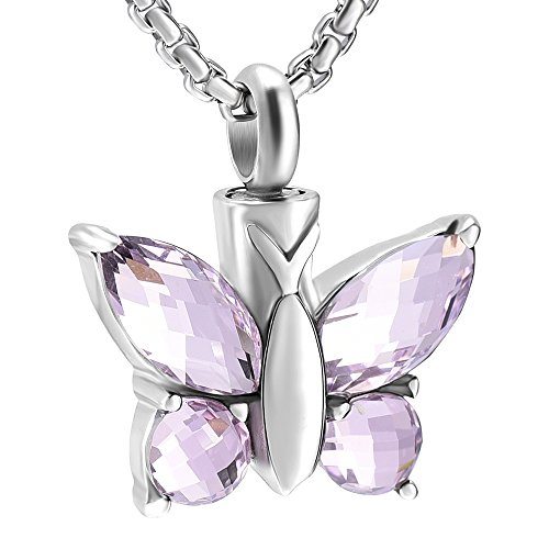 JC8497 Multi-colored Crystal Wing Butterfly Stainless Steel cremation jewelry pendants For Pet