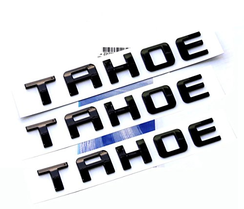Yoaoo 3x OEM Black Tahoe Nameplate Emblems Alloy Letter Badge for Gm 07-16 Tahoe Glossy - Chevy Emblems Tahoe