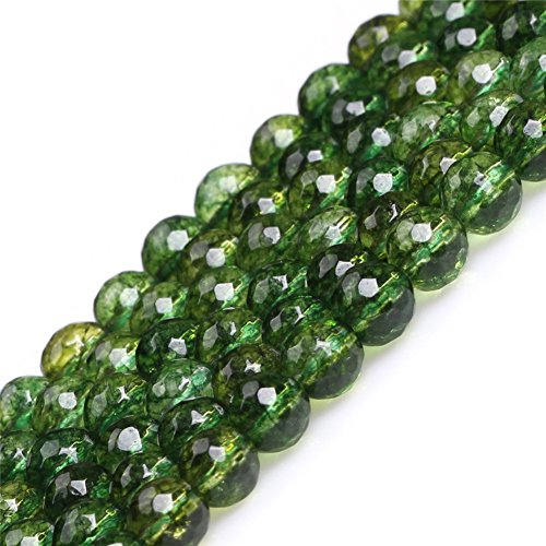 Round Faceted Green Peridot Gemstone Loose Beads for Jewelry Making Handmade DIY One Strand 15