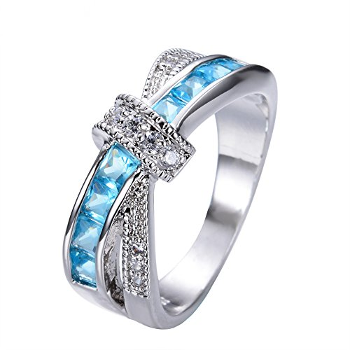 OldSch001 18k Delicate And Beautiful Diamond Rings Studded Zirconia Eternity Band Ring Cocktail Jewelry (Sky Blue,10)