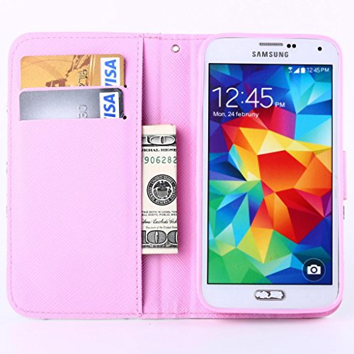 tramsla Premium PU Leather Wallet Bow-knot Flip Case Cover Folio Stand for Samsung Galaxy S5 i9600 - Case 3