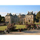 Art Silk Fabric Cloth Rolled Wall Poster Print - Luxembourg palace Paris France Palace People Park Sculpture - (Size:28x20 Inches)