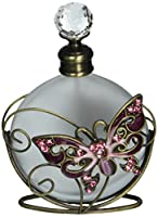 StealStreet SS-A-51709 Crystal Butterfly Perfume Bottle with Gold Colored Swirl Red Design