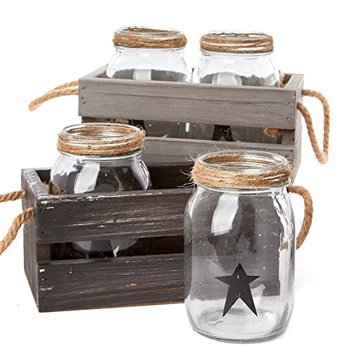 Factory Direct Craft Rustic Folk Star Accented Small Mouth Mason Jars in Assorted Color Distressed Wood and Rope Caddy