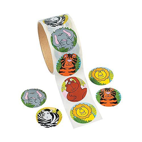 Fun Express Zoo Animal Sticker Roll Novelty (100 Piece) ()