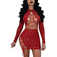 c725ee30c1b2 Halfword Womens Lace Up Long Sleeve Bandage 2 Piece Crop Top Skirt Set  Outfits