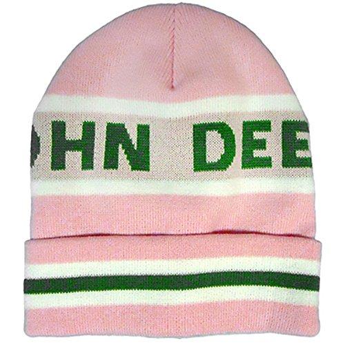 John Deere Knit Stripe Cuff Winter Hat Pink NWT!
