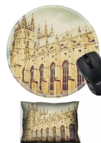 MSD Mouse Wrist Rest and Round Mousepad Set, 2pc Wrist Support design 26855118 Vintage retro looking The Canterbury Cathedral in Kent England UK Canterbury Round Table