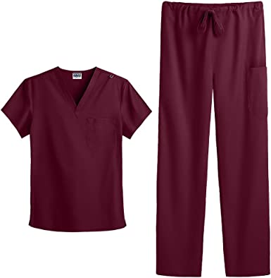 Includes V-Neck Top and Pant Strictly Scrubs Unisex Four Way Stretch Scrub Set