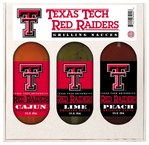 8 Pack TEXAS TECH Red Raiders Grilling Gift Set 3-12 oz by Hot Sauce Harry's