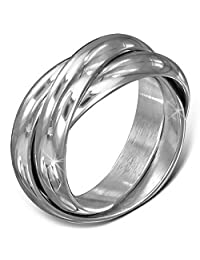 Stainless Steel Three Silver-Tone Interlocking Polished Ring Band Set, 5 mm Wide