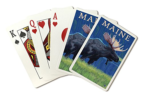 Maine - Moose in the Moonlight (Playing Card Deck - 52 Card Poker Size with Jokers) -