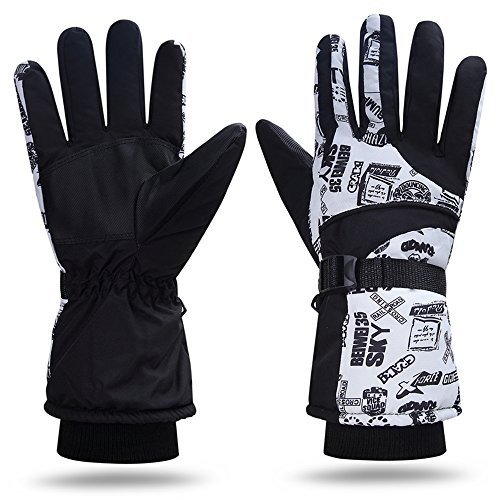 - YYGIFT Winter Ski Gloves -30°F Windproof Waterproof Glove Insulated Cotton Reinforced Warm Skiing Gloves for Men Women Outdoor Skating Snowsports Black-White