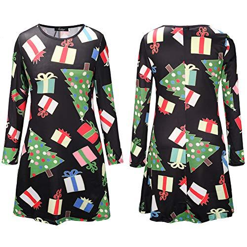 2018 Damen Kleider Blusekleid Hemdkleider Frauen Kleid Partykleid Drucken Weihnachten Kostüm