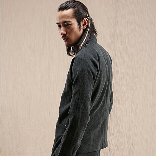 WEISAN Mens Stand Collar Keroa Spring Autumn Coat Cotton Linen Meditation Costume by WEISAN (Image #3)