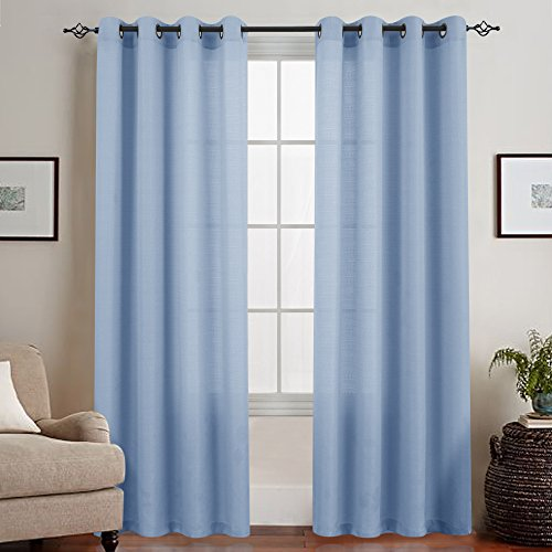 Sheer Window Curtains for Living Room Casual Weave Linen Textured Semi Sheer Curtain Panels 1 Pair Light Blue, L72