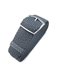 20mm MiLTAT Perlon Watch Strap, Braided Nylon Dark Grey, Sandblasted Ladder Lock Buckle