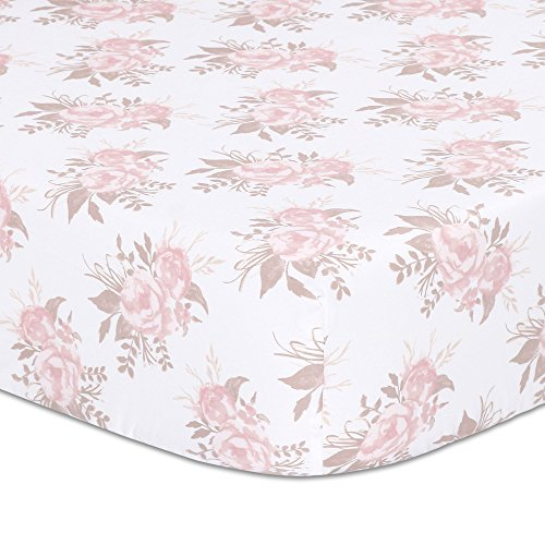 Grace Pink Cotton - Grace Floral Fitted Crib Sheet - Pink and Dusty Brown Flowers - 100% Cotton