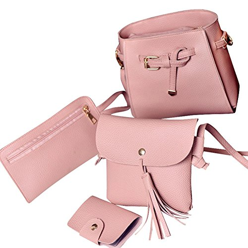 Four Pieces Fashion Bag Pink Shoulder Tote Voberry Handbag Wallt Crossbody Women Four Set Bag 5ZqxFafa