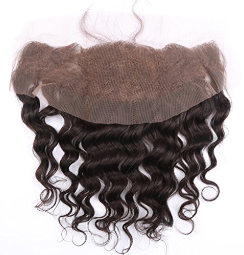 Brazilian Hair Deep Wave Lace Frontal Closure 13x4 Free Part with Baby Hair Bleached Knots Natural Color 12 Inch by HCremy Hair (Image #2)