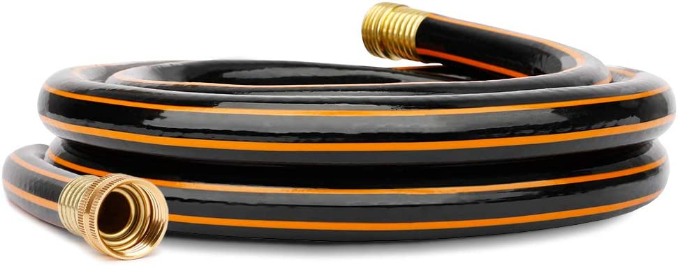 Black-Orange Garden Short Hose 5/8 in. x 8 ft. Hose Reel Lead in Hose, Male/Female Solid Brass Fittings, No Leaking, Short Connector Hose for Water Softener, Dehumidifier, Camp RV, Janitor Sink Hose