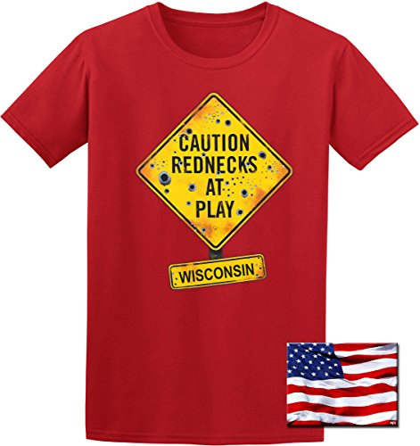 JH DESIGN GROUP State of Wisconsin Redneck Souvenir T-Shirt & Exclusive American Flag Sticker (3X, Red)