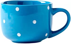 CHOOLD Large Ceramic Coffee Mug Polka Dot Milk Cup Tea Cup Jumbo Mugs Soup Bowl with Handle for Couple 15oz(Colorful)
