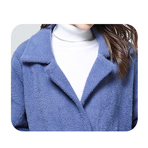 Con Moda Xyujie Polar Abrigo De Mujer Abierta Blue Prendas Terciopelo Bolsillos Para Forro Delantera Chaqueta qqZt4w