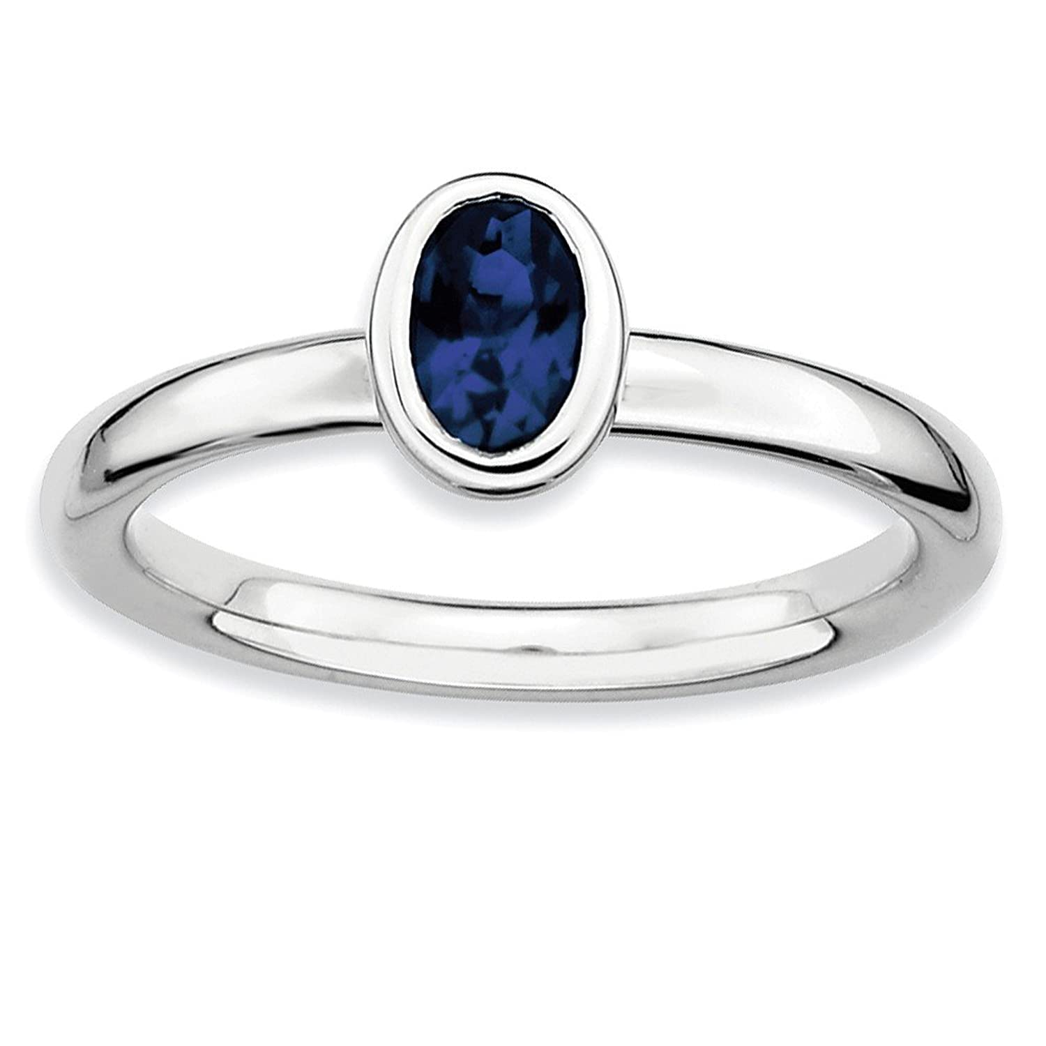 Roy Rose Jewelry Sterling Silver Stackable Expressions Oval Created Sapphire Ring