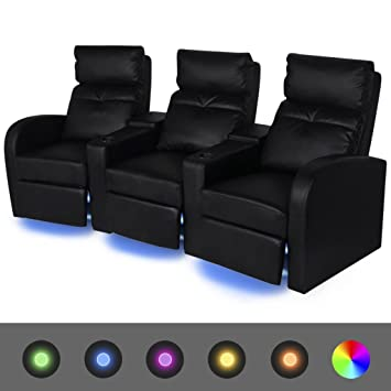 WEILANDEAL Sofa reclinable LED 3 plazas de Cuero Artificial ...