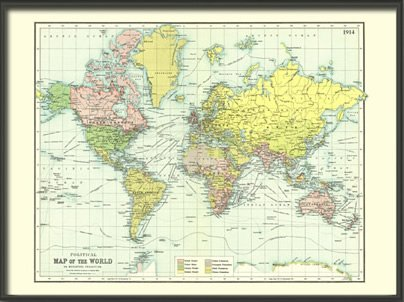 Amazon old political map of the world 1914 paper prints old political map of the world 1914 paper gumiabroncs Image collections
