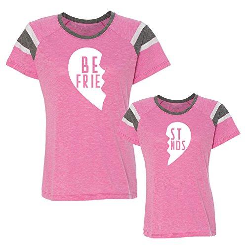 We Match!! - Best Friends (Two Halves of a Heart) - Matching Women's & Girls Football Slub T-Shirt Set (Youth L, Women's Fanatic 2XL, Pink, White Print)
