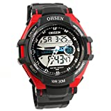 Red Ohsen Unisex Waterproof Digital LCD Alarm Date Mens Military Sport Analog Watch