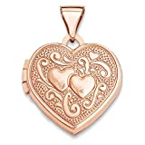 ICE CARATS 14k Rose Gold 15mm Heart Photo Pendant Charm Locket Chain Necklace That Holds Pictures Fine Jewelry Gift Set For Women Heart