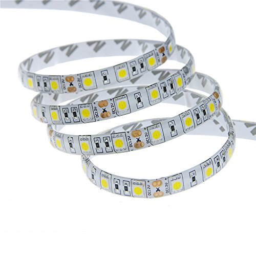 ALITOVE 16.4ft Warm White 3000K 5050 SMD LED Flexible Strip Ribbon Light 5M 300 LEDs Waterproof IP65 DC 12V for Home Garden Commercial Area and Festival Lighting