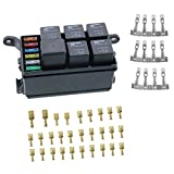 12-Slot Relay Box,6 Relays,6 ATC/ATO Fuses Holder Block with Fuses,4-pin Relays and Metallic Pins for Automotive Marine Engine Bay
