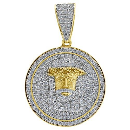 FB Jewels Yellow-tone 925 Sterling Silver Mens Round Cubic Zirconia CZ Jesus Face Religious Charm Pendant -