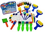 Little Kids Art Set - Kids Art Supplies - 50 Piece Set Paint Brushes, Finger Paints, Palette, Foam Texture Brushes, Paper - Nontoxic Washable Paint - Learn to Paint Set with a Travel Activity Art Case