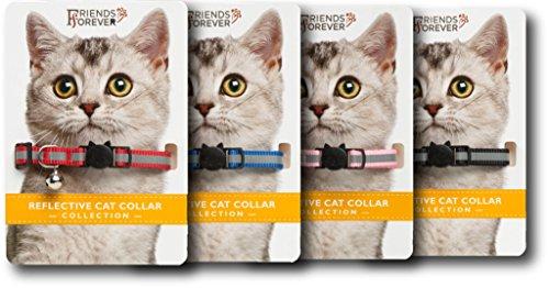Breakaway Cat Collar - 4 Pack Fancy Reflective Cat Collars Breakaway with Bell - Pink / Red / Black / Blue Adjustable Nylon - Nylon Breakaway Cat Collar Bell