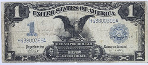 1899 Black Eagle Silver Certificate One Dollar Note Blue Seal $1 Average Circulated #57