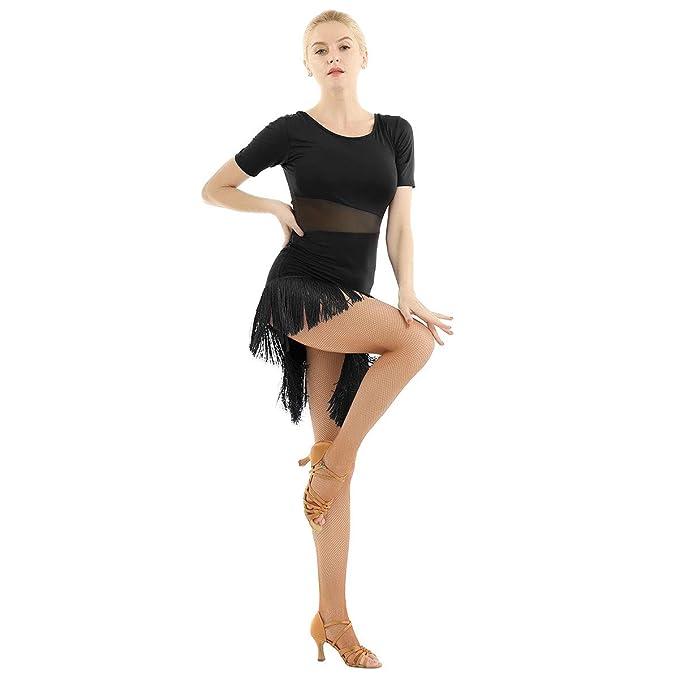 Amazon.com: iEFiEL - Vestido de malla con flecos y borlas ...