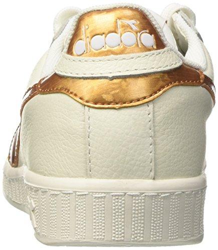 Sneaker Metallic Bianco Oro Collo Game Uomo Basso a Bianco Diadora OqEUCU
