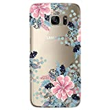 RXKEJI Samsung Galaxy S7 Edge Case with Flowers, Girl Floral Pattern Clear Slim Soft Flexible TPU Back Cover for Samsung Galaxy S7 Edge - Begonia Flower