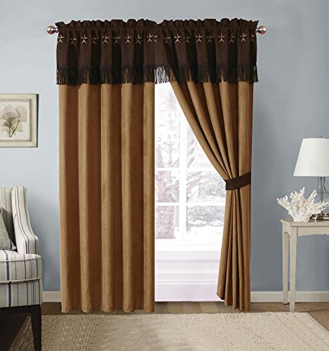Rustic Western Texas Lone Star Micro Suede 4 Piece Drapes Curtain Set in Light and Dark Brown 2-115