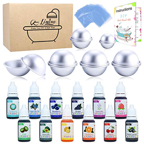 12 Pieces Bath Bomb Mold Set with 12 Food Coloring, Shrink Wrap Bags - DIY Bath Bombs Making Supplies Kit - Food Grade Skin Safe Bath Bomb Dye for Soap Coloring, Crafting Fizzles - with Instructions