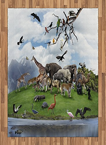 Africa Area Rug by Ambesonne, Tropic Animal Collage in the Valley with Lion Parrot Swans Elephants and Flamingos, Flat Woven Accent Rug for Living Room Bedroom Dining Room, 5.2 x 7.5 FT, Multicolor by Ambesonne