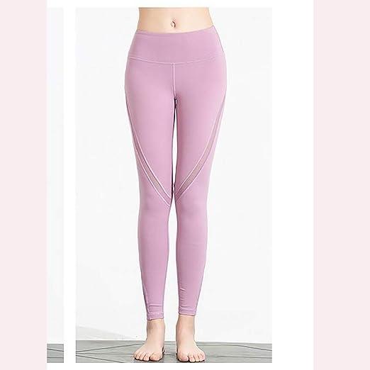 Asnvvbhz Pantalones de Yoga Entrenamiento de Mallas elásticas en ...