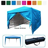 Quictent privacy 10x10 Mesh Curtain EZ Pop Up Party Tent Canopy Gazebo 100% Waterproof-7 Colors (Light Blue)