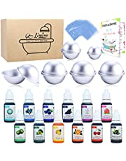 12 Pieces Bath Bomb Mold Set with 12 Soap Dye, Shrink Wrap Bags - DIY Bath Bombs Making Supplies Kit - Food Grade Skin Safe Bath Bomb Dye for Soap Coloring, Crafting Fizzles - with Instructions