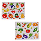 rolimate 2 Set of 15 inches Wooden Pegged Puzzles, Learning Preschool Toys for Kids More Than 3 Years Old ( Fruits and Vegetables )